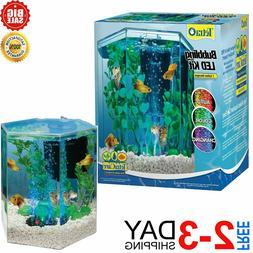 Hexagon Aquarium Tetra Tank LED Bubbler Kit Gallon Gold Fish