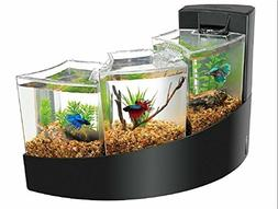 AQUEON KIT BETTA FALLS BLACK AQUARIUM FISH TANK NEW FREE 2 D
