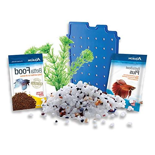 Aqueon Betta Fish Tank Starter Kit, Blue