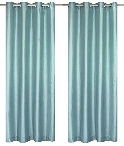 LJ Home Silkana Faux Silk Curtain Panels x Blue