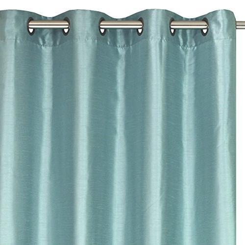 """LJ Silkana Faux Silk Curtain Panels 56"""" W x 88"""" Blue"""