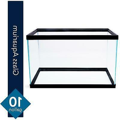 10 Gallon Aquarium Fish Tank Clear Glass Terrarium Fishes Pe