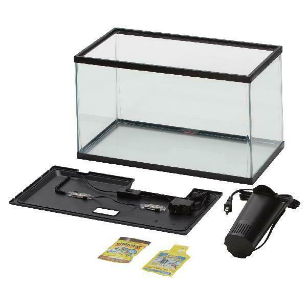 10 Gallon Aquarium Kit Set Fish Tank Led Light Hood Filter C