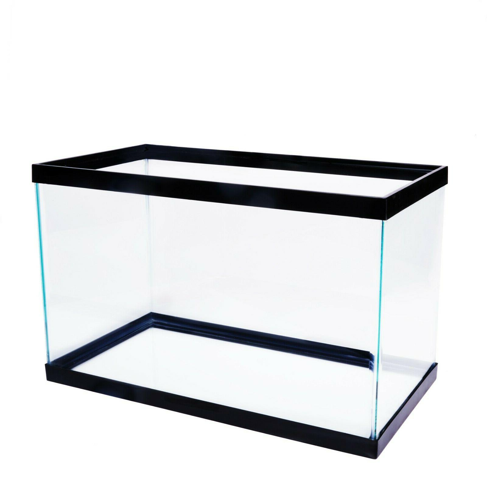 Fish Tank Aquarium 2 10 Gallon Clear Glass Home Drum Bowl Aq