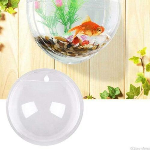 Fish Bowl Aquarium Tank Acrylic Wall Mount Goldfish Plant Decor