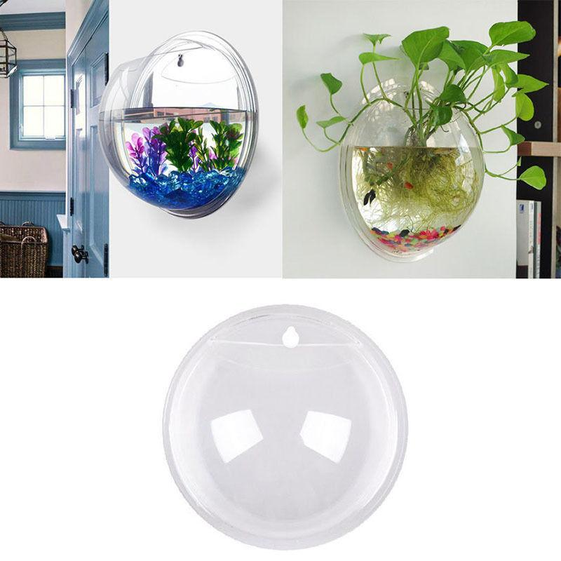 15*15cm Wall Mount Fish Bowl Tank Plant Decor