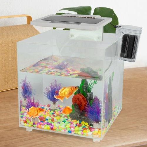 Mini Square Acrylic Aquarium Baby Fish Tank LED Light 15L