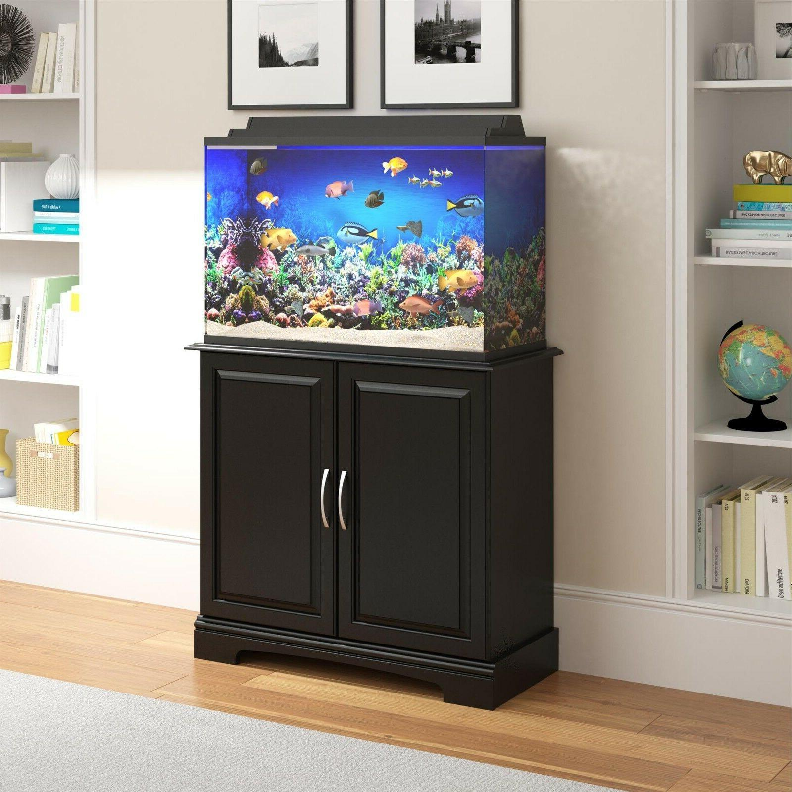 29-37 Gallon Fish Cabinet Black Furniture