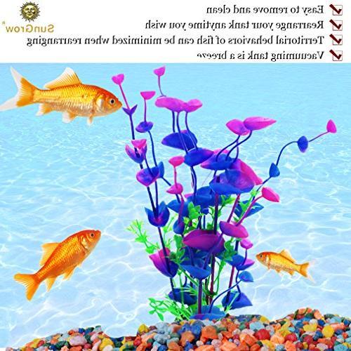 SunGrow 3 Artificial Aquarium Plants Bright, Hues of Purple & Green Maintenance, Tank Decoration - Safe Entertaining Betta, Tetra & Guppies