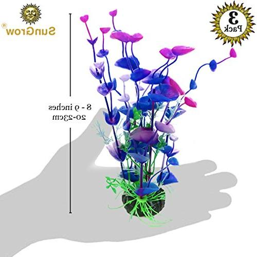 SunGrow Artificial Plants - Hues of Blue, & Maintenance, Fish Entertaining Betta, Goldfish, Tetra