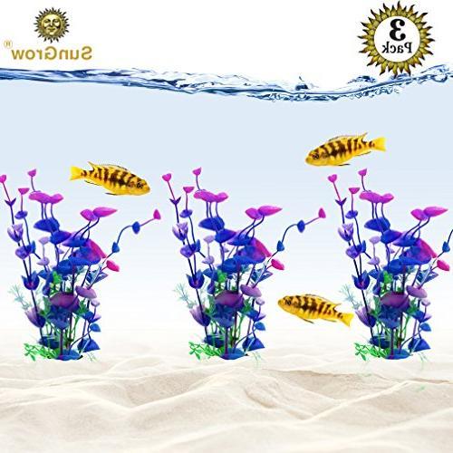 3 artificial aquarium plants