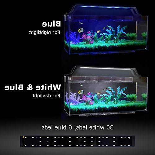 15W Extendable Fish Tank Light with 30 White LED and 6 Blue LED Push-Pull Designed Lamp Fits for 21-29 in Aquarium Tank Zacro 36 LED Aquarium Lights