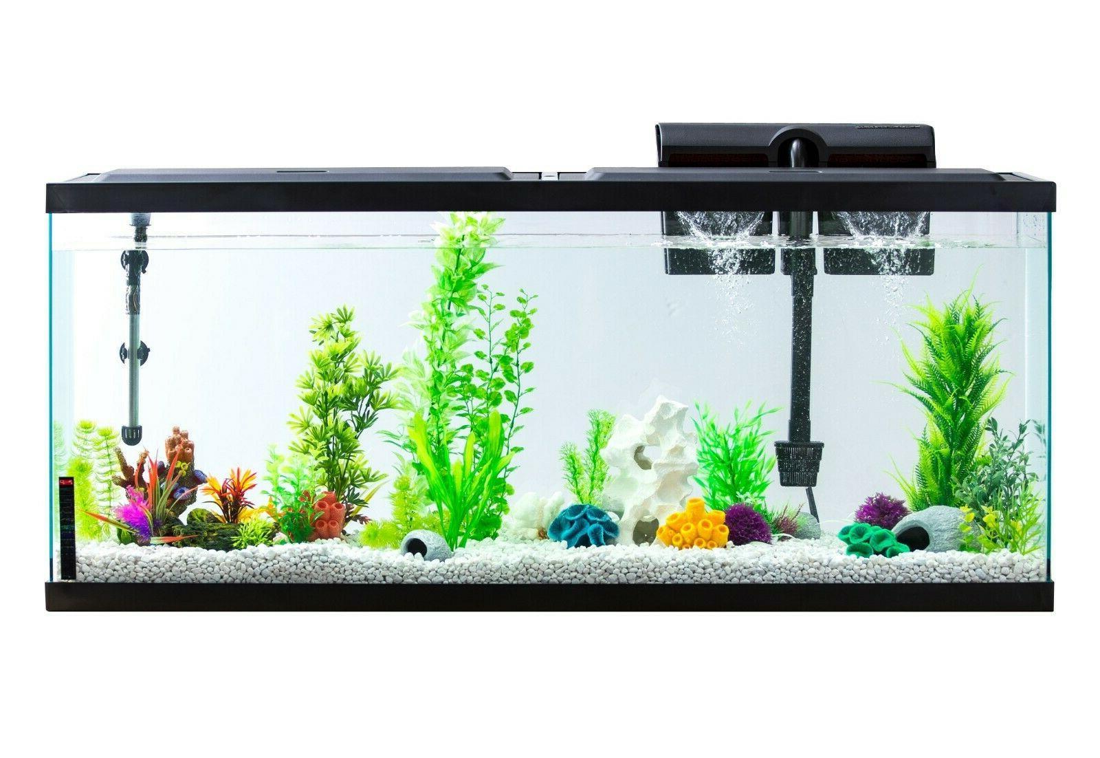 55 Gallon Aquarium Fish Tank LED Light Full Starter Kit Tetr