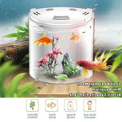 5L Half Fish Tank Aquarium Capacity 180° USB LED