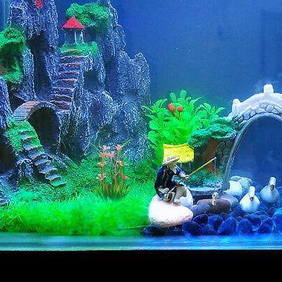 5Pcs Artificial Plastic Grass Fish Tank Decor Supply