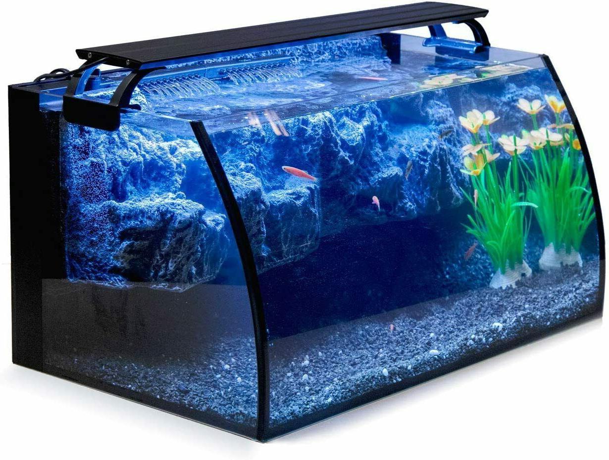 8 Gal LED Curved Aquarium Starter Kit Pump Filter Rock 3D Ba