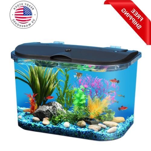 Kit Aquarium Starter 5 Gallon Fish Tank Terrarium LED Light