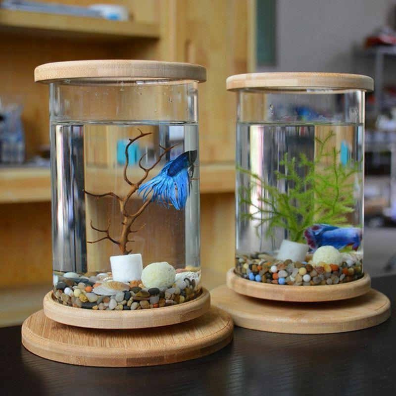 Aquarium Accessories Tanks Bamboo Base Mini Fish Glass Bette
