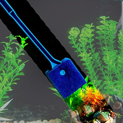SLSON Scraper Double Brush Cleaner Long Fish Tank Scrubber Aquariums and Home inch