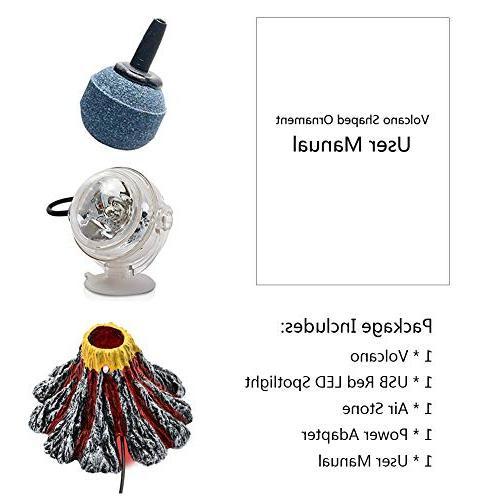 Bubbler Ornament Kit with Red LED Aquarium Tank