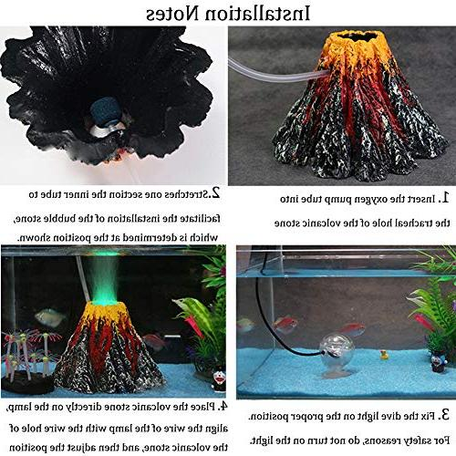 Aquarium Stone Bubbler Volcano Shape Kit Set Red LED Decorate