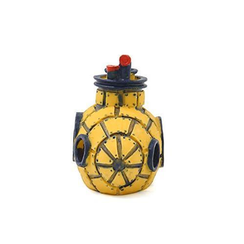 uxcell Aquarium Decoration Maker Yellow Spaceship Ornament