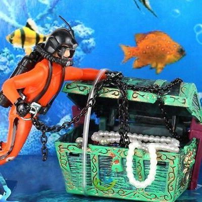 US Aquarium Decor Fish Tank Frogman Treasure Diver Action-Ai