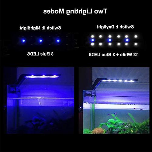 WOTERZI LED Aquarium Clip Fish Light for 10-18 Fish White Blue