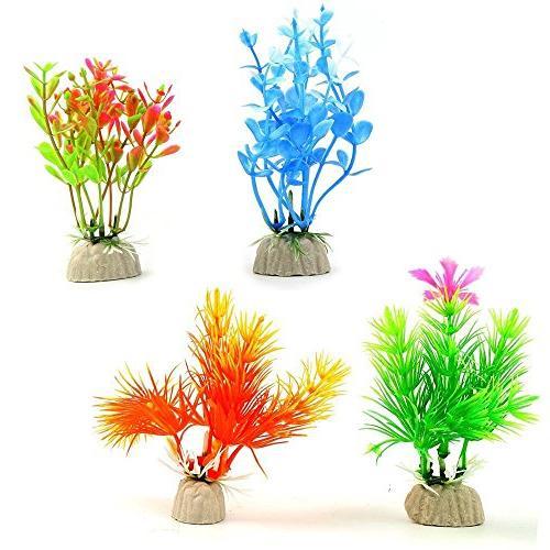 COMSUN 10 Aquarium Plants, Size 4 4.5 inch Approximate Fish Decorations Plastic Assorted