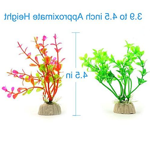 COMSUN Artificial Aquarium Plants, Size 4 to Approximate Decorations Home Assorted Color