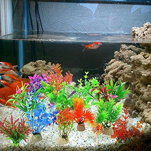COMSUN Artificial Aquarium Plants, 4 to 4.5 Approximate Tank Decorations Home Décor Plastic Assorted Color