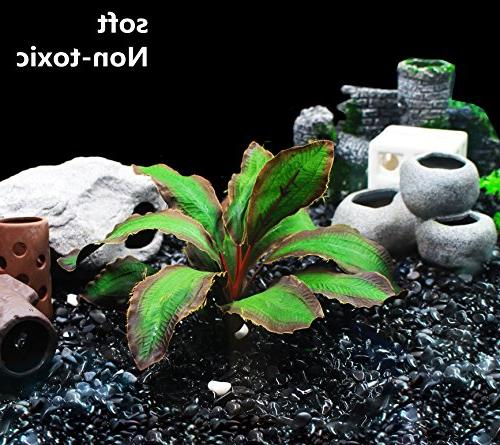 ZAZALUM Artificial Plants, Betta Fish Fish Green Aquatic Lobelia-green-8in