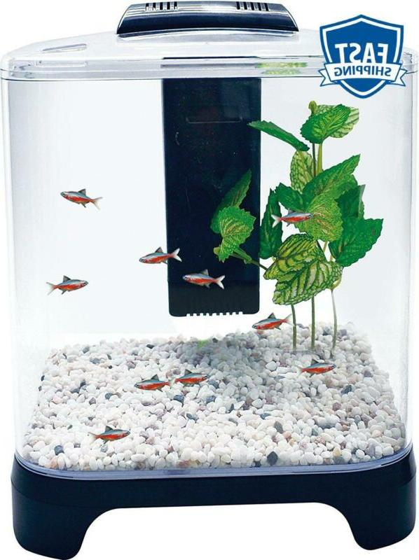 Penn Plax Betta Fish Tank Aquarium Kit With Led Light And In