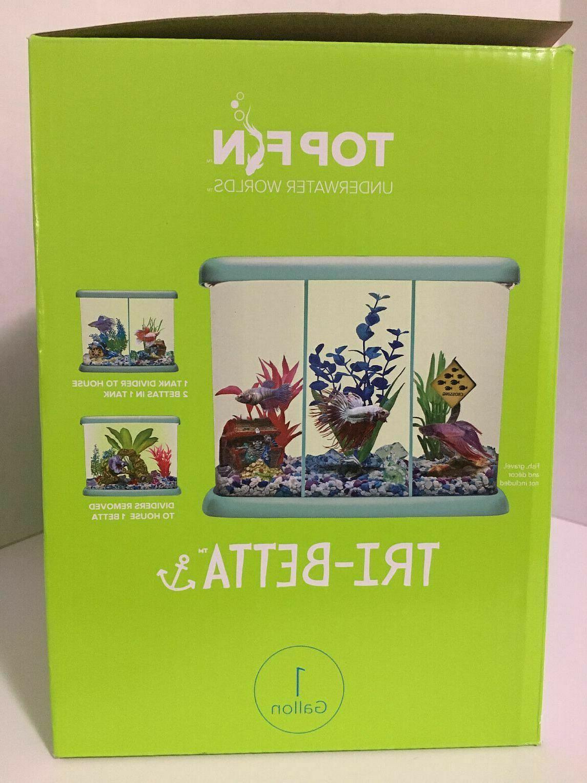Betta Fish Tank Tri-Beta w/ LED Light Kit NEW +
