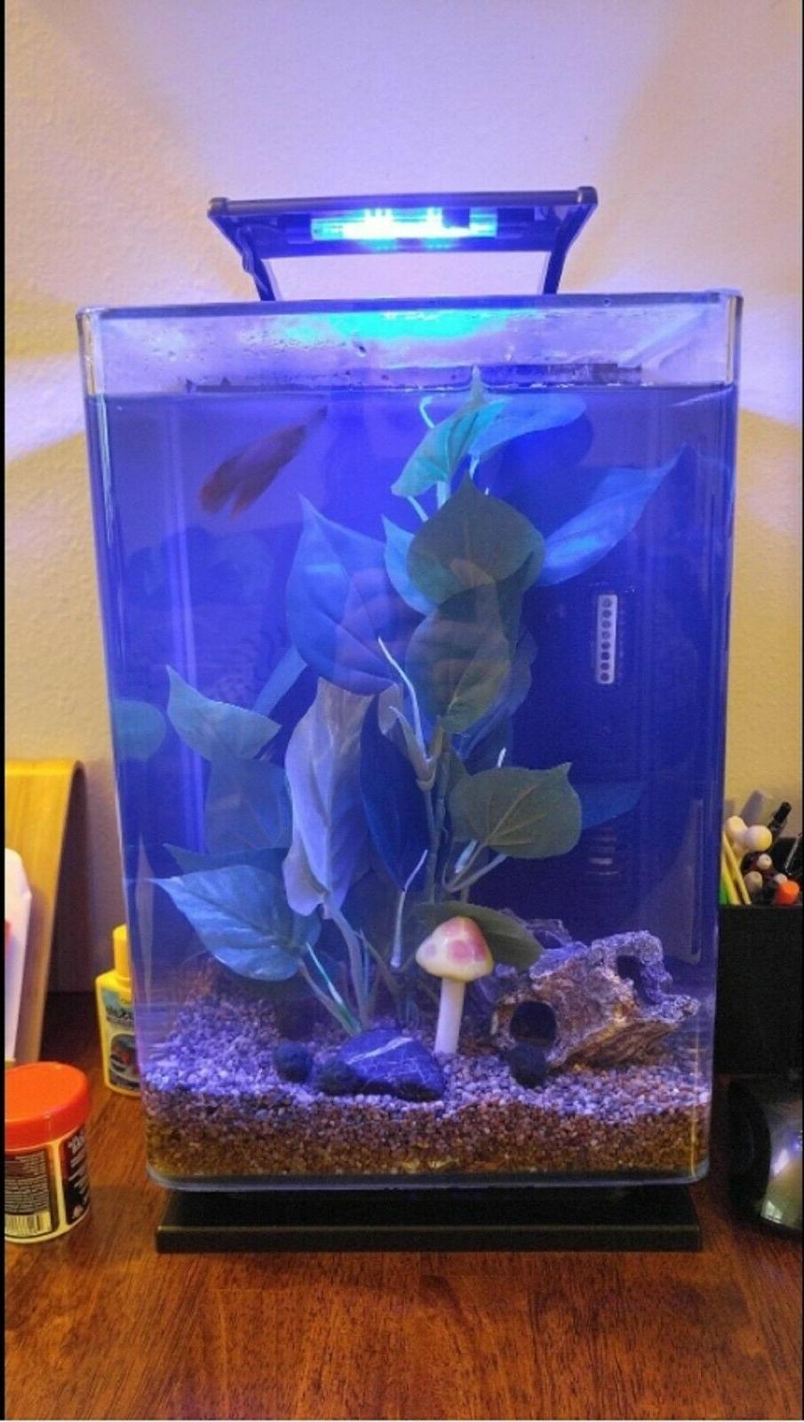 Modern Aquarium 5 Gallon Black Tank Starter Goldfish Filt