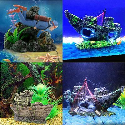 Diver Action Aquarium Ship Boat