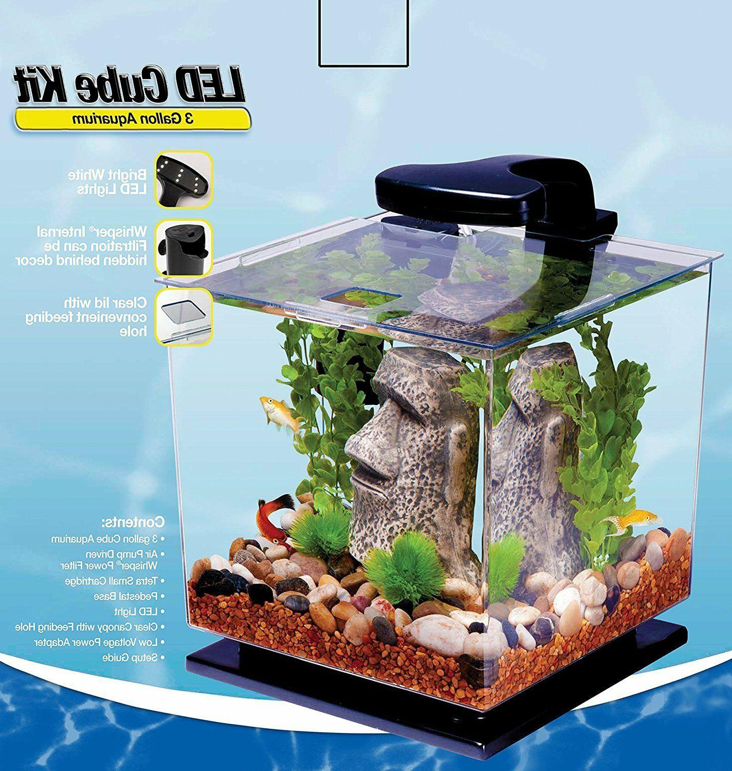 Fish Aquarium 3 Gallon Tank Kit Light Beta Goldfish