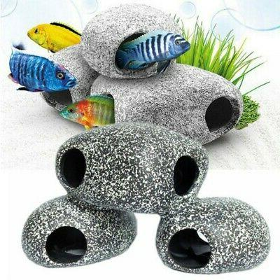 Ceramic Rock Cichlid Stone Cave Aquarium Fish Tank Pond Orna