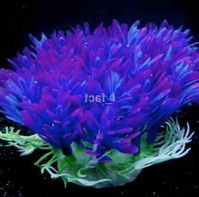 Fish Aquarium Decor Accessories Artificial Water Purple Grass
