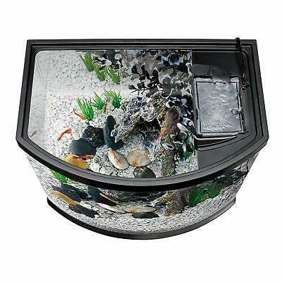 Fish Tank Aquarium Starter Kits LED Lighting Black Pet Water Tank