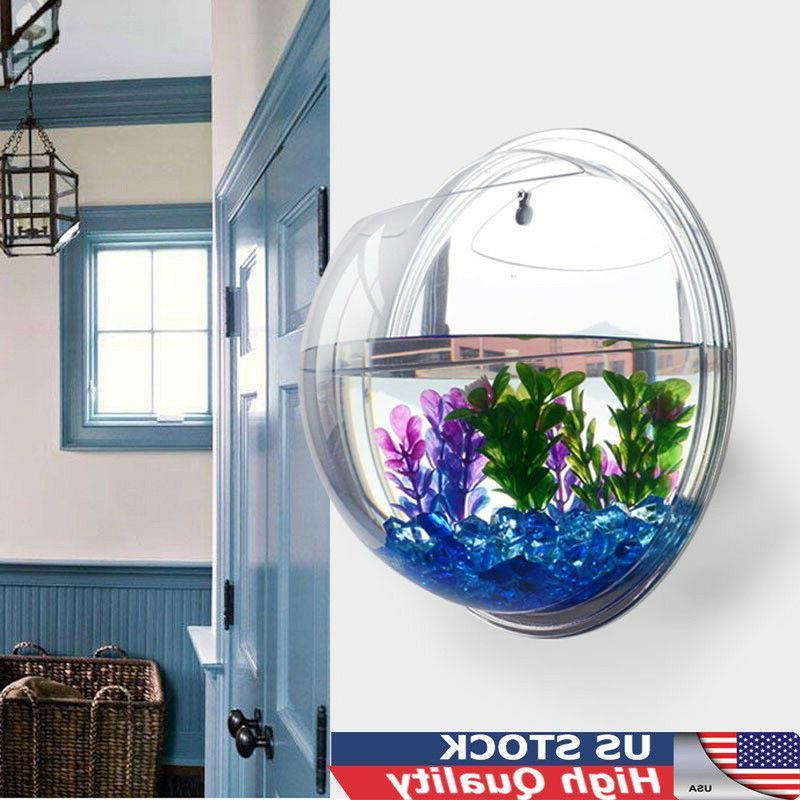 hanging wall fish tank mounted clear bowl