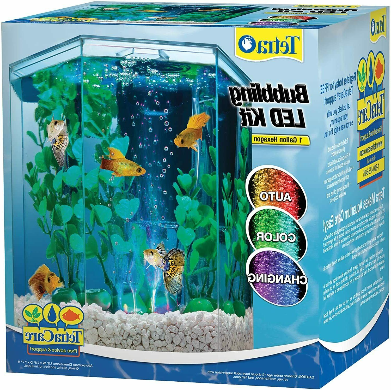 hexagon aquarium tetra tank led bubbler kit