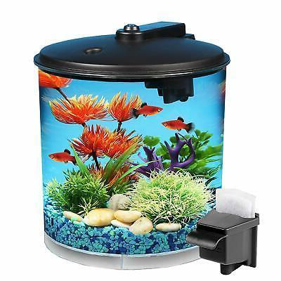 Koller AquaView 2-Gallon 360 Fish Tank Aquarium with Power F