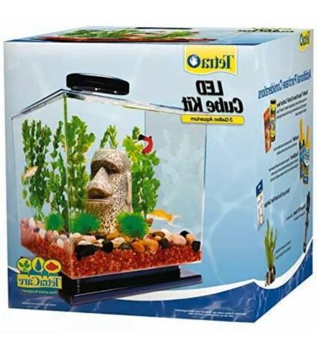 led cube shaped 3 gallon aquarium