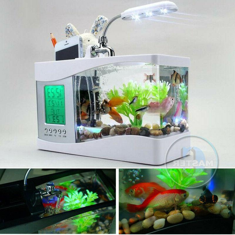 LED FISH TANK DIGITAL CLOCK WHITE