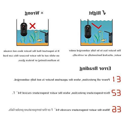 GOOBAT Submersible Aquarium Heater Aquatic Heater with Temperature, and Temperature Aquariums