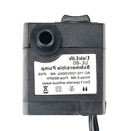 Uniclife 80-550GPH Submersible Water Pump with 6ft Cord for Fountain Pond Tank