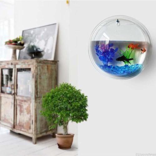 Wall Mount Fish Acrylic Aquarium Goldfish Hanger Decor