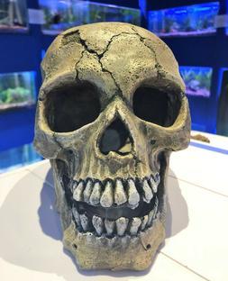 Large Skeleton Cracked Creepy Skull Aquarium Ornament for Fi