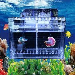 LED Acrylic Betta Fish Tank Mini Desktop Aquarium Water Pump